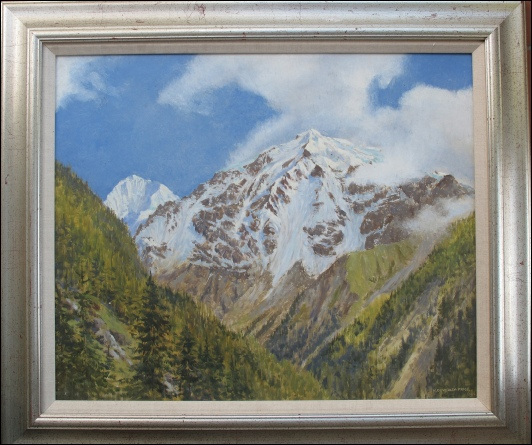 The Ortler and the Grand Zebru, Italian Alps.	1956	oil on board.