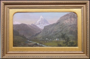 Mountain Paintings Zermatt and the Matterhorn. Hanley, J. [19th cent.] c1860 oil on canvas.