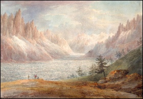 mountain paintings Payne, William Mer de Glace and Montanvert