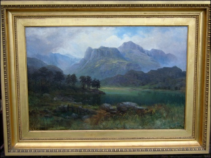 mountain paintings of The Langdale Pikes over Elterwater