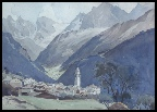 swiss mountain paintings a swiss village and mountains