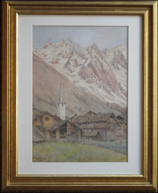 Entreves, Grands Jorasses, Dent Geant. Val d'Aosta.	1922	watercolour.
