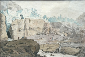 mountain paintings Aberli, Johann Ludwig Glaciers of Grindelwald.