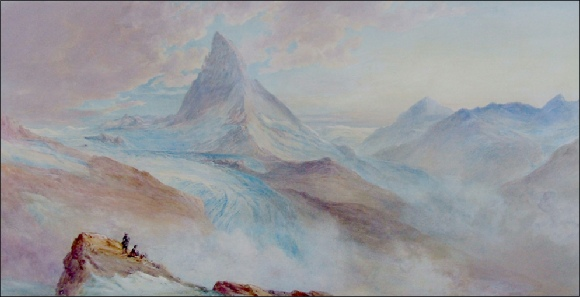 Mountain Paintings Barnard, George. The Matterhorn, from the Gornergrat, Sunset