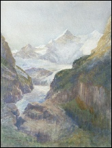 Bergbildern Berner Oberland mountain paintings Fiescherhorn above Grindelwald by William Collingwood