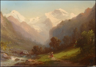 Ferninand Sommer mountain painting of Lauterbrunnen and Jungfrau