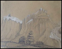 mountain paintings for sale, Bergbildern Berner Oberland mountain paintings early painting of Wetterhorn