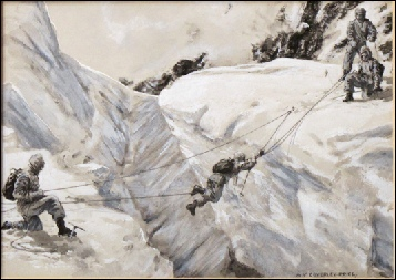 Coverley Price, Victor The Hillary Expedition 1953. A rare artists impression of how the Everest team will be crossing ledges, crevasses