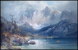 E T Compton Mountain Art Paintings Lago d'Alleghe and Monte Civetta. Dolomites by E.T. Compton Dolomites by Edward Theodore Compton