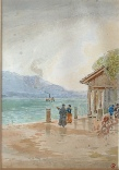 mountain paintings Figures on the side of Lake Thun by Harry Goodwin artist