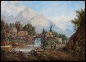 mountain paintings oil painting of a swiss village by George Barnard artist