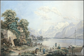 mountain paintings Huber, Jean Daniel. (apres)Vue prise aux environs de la Tour (de Peilz). Lake of Geneva near Vevey with Dents de Midi.
