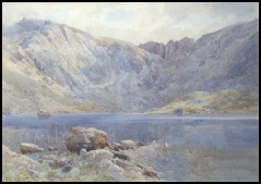 mountain paintings by Edward Theodore Compton for sale Llyn Idwal and Twll Du (The Devil's Kitchen) by E.T. Compton