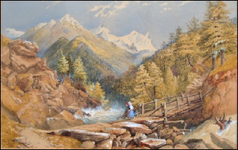 Mountain Paintings Mitchell R.I., Philip [1814-1896]	Near Täsch in the Zermatt Valley with Adlerhorn, Strahlhorn and Rimpfischhor