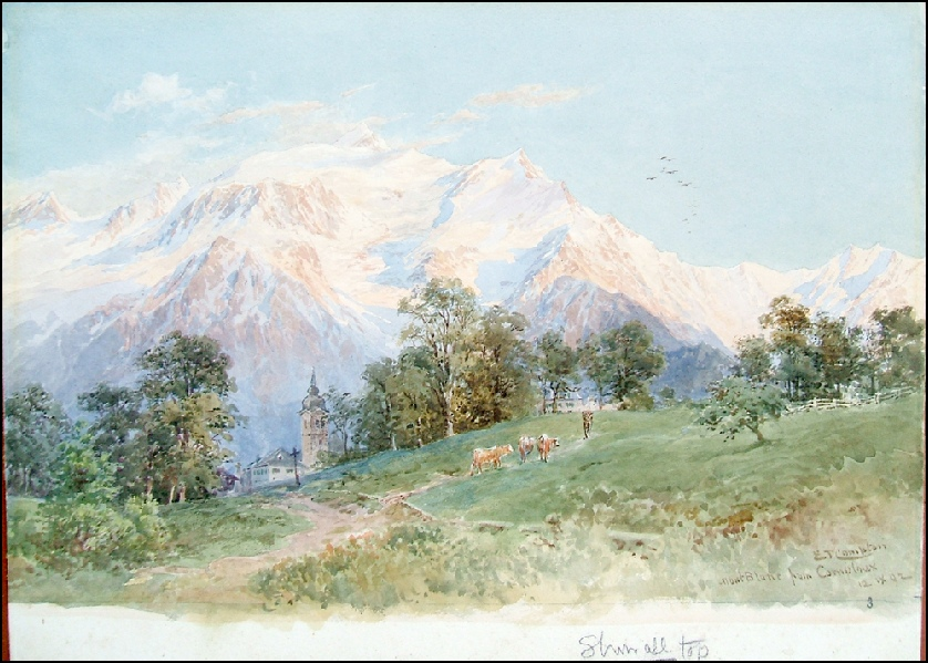 image of mountain paintings by Edward Theodore Compton for sale, Mont Blanc from Combloux by E.T. Compton