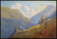 Mont Blanc. from above Vallorcines. Rodger P.R. c1860 watercolour.