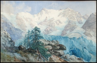 mountain paintings Sunrise on Monte Rosa. Macugnaga by George Barnard