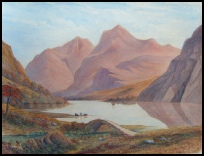 Mountain Paintings Scawfell and Wastwater Lake District watercolour by Green, Amos. [1755-1807] c1795