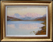 Mountain Paintings Snowdon from Capel Curig lake Plas y Brenin