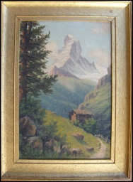 Mountain Paintings The Matterhorn from above the Riffel.  Roth, Alois. [1869-1930] German. 1912 oil on canvas.