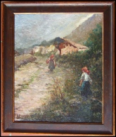 Mountain Paintings Two villagers of Cogne? on path before village. 19th cent. Italian. c1900 oil on board.