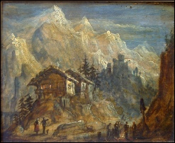Mountain Paintings of  Mont Blanc? PaYNE? c1800 oil on panel. 15.25 x 21 cms. monte bianco mont blanc