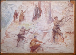 Mountaineering in Canada. Bacon, John Henry Frederick. [1868-1914] 1906 watercolour.