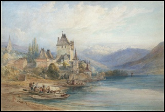 mountain paintings Oberhofen, Lake of Thun by George Barnard artist