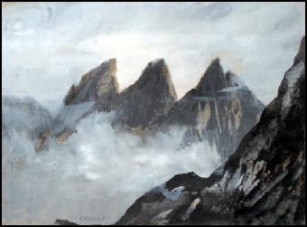 Mountain Paintings : Mountain Art Pinnacle Ridge, Sgurr Nan Gillian, Skye.