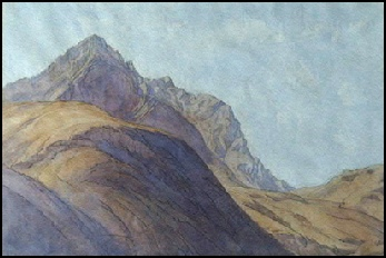 watercolour painting of Sgurr nan Gillean from Glen Sligachan