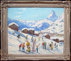 Skiers at the foot of the Matterhorn. Henty-Creer, Deirdre. [1928-?] 1963 oil on canvas.
