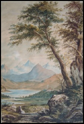 mountain paintings Snowdon and Capel Curig Inn about 1800