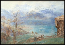 mountain paintings The Blue Lake, Kandersteg by Harry Goodwin