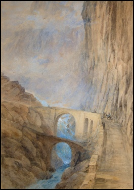 mountain paintings The Devils Bridge. Suisse by George Barnard artist