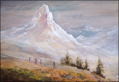 Mountain Paintings The Matterhorn above 'Zermatt' with four figures.