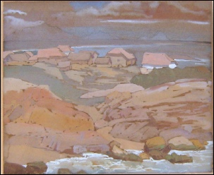 mountain paintings by Theodore Howard Somervell North West Coast of Scotland (Assynt??) from one of the Isles?)
