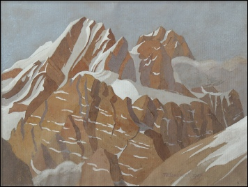 mountain paintings by Theodore Howard Somervell Peaks near Nanga Parbat