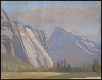 mountain paintings by Theodore Howard Somervell Yosemite Valley. The Edinburgh Crags and Half Dome