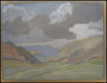 mountain paintings by Theodore Howard Somervell view south down Borrowdale from Manesty/Grange