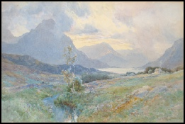 mountain paintings by Edward Theodore Compton for sale Tryfan by E.T. Compton