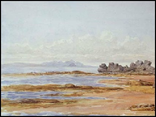 watercolour painting of Beach at Turnberry, with Arran in distance.