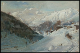 mountain paintings Valley of the Sertig, Davos, Switzerland by Harry Goodwin