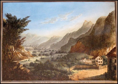 Mountain Paintings : Mountain Art Viege (Visp), Valley of the Rhone, Glis (Brig) in the distance, Simplon on the right.