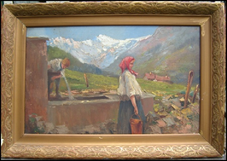 Donne di Cogne all fontana. Bazzaro, Leonardo. school of c1885 oil on canvas. unrestored. cogne gran paradiso Mountain Paintings dipinti