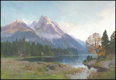paintings of the Dolomites for sale, dipinti montagna Dolomite Mountain Paintings Hochkalter and Hintersee, Tirol dipinti Edward Harrison Compton
