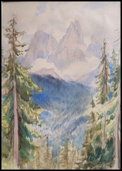 paintings of the Dolomites for sale, dipinti montagna dolomite mountain paintings Cima della Pala and Cima della Vezzana.