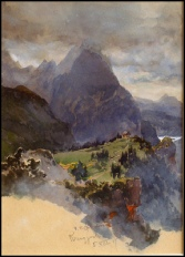 image of mountain paintings by Edward Theodore Compton for sale, mountain paintings by E.T. Compton Kreuzjoch, Zillerthal mit Langersee by E.T. Compton