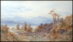 google image mountain paintings by Edward Theodore Compton for sale mountain paintings and Lake Windermere and the Langdale Pikes, from Low Wood by E.T. Compton