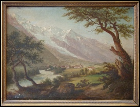 Chamonix Mont Blanc. signed AGisling px. c1865 oil on canvas. tableaux chamouni mont blanc dipinti monte bianco mountain paintings